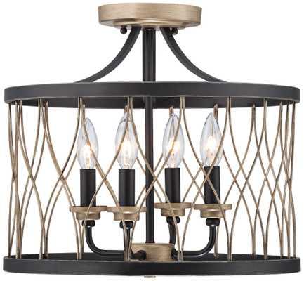 "Witmer Black Bronze 16"" Wide 4-Light Ceiling Light - Lamps Plus"