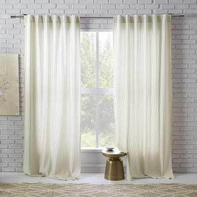 "Tassel Stripe Curtain, Set of 2, Nightshade Pinstripes, 48""x108"" - West Elm"