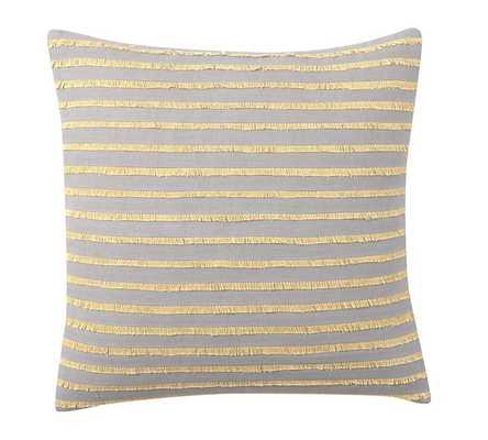 "Fringe Stripe 18"" sq. GRAY/YELLOW Pillow Cover, no insert - Pottery Barn"