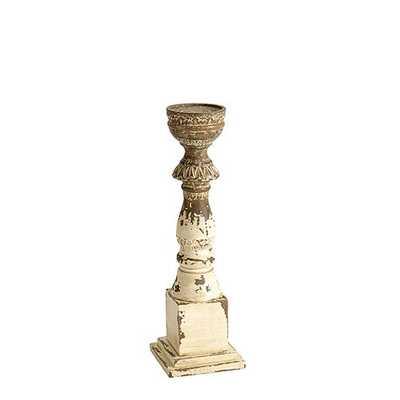 Grand Distressed Wood Candle Holder - Small - Ballard Designs