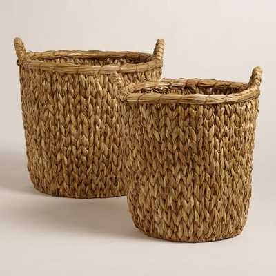 Natural Sweater Weave Abbie Baskets  - large - World Market/Cost Plus