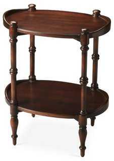 Mirena Oval Side Table, Mahogany - One Kings Lane