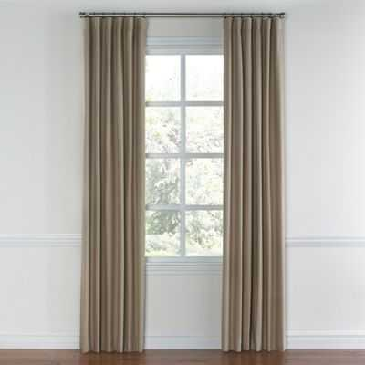 "Ivory & light taupe linen color block curtain - 50""W x 96""L - Loom Decor"