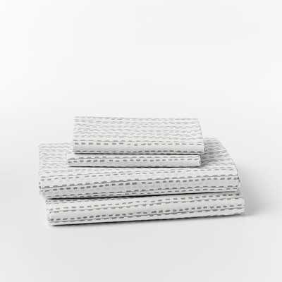 Organic Hand Drawn Stripe Sheet Set - Queen - Feather Gray - West Elm