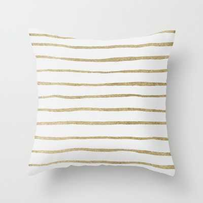 "Gold Stripes Indoor Pillow - 18"" x 18"" - Down Insert - Society6"