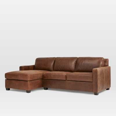 Henry Leather Left Chaise 2-Piece Sectional - West Elm