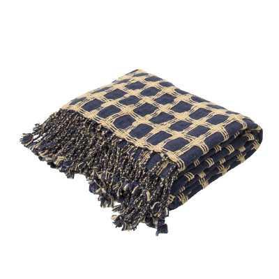 Cache Handloom Transitional Cotton Throw - Blue - Wayfair