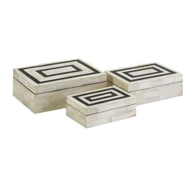 3 Piece Bella Bone Inlay Box Set - Wayfair