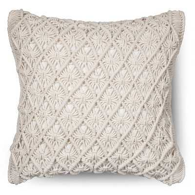 "Macrame Throw Pillow - Sour Cream - 18"" x 18"" - Polyester Insert - Target"