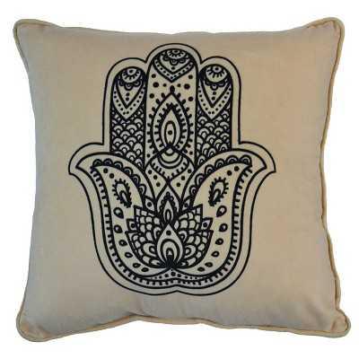 "Hamsa Hand Pillow - 16""x16"" - Black&White - Polyester Fill - Target"