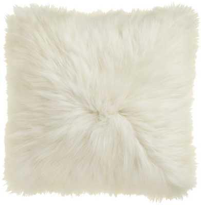 "Icelandic sheepskin 24"" pillow-cushion with down-alternative insert, White - CB2"