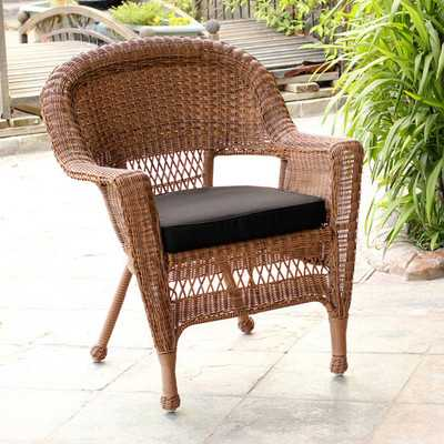 Wicker Chair with Cushion - Black - Wayfair