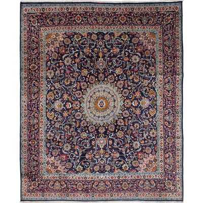 Hand-knotted Persian Kashmar Blue Wool Area Rug (9'10 x 12'1) - Overstock