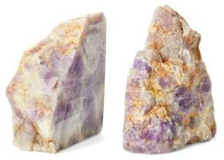 S/2 Amethyst Bookends - One Kings Lane