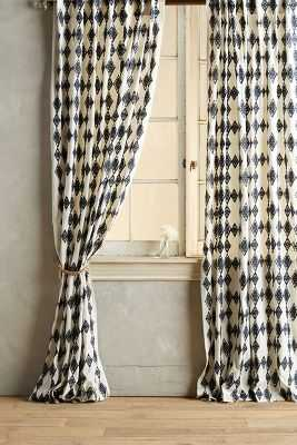"Tumbling Diamonds Curtain - 108"" x 50"" - Indigo - Anthropologie"