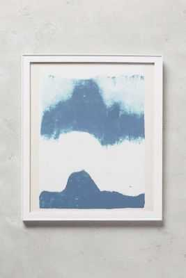 """Abstracted Mountainscape Wall Art - (Blue) - 13.25""""H, 11.25""""W- White Frame - Anthropologie"""