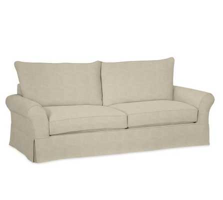 PB Comfort Roll Arm Slipcovered Sofa Collection-Grand Sofa-Textured Twill- Oatmeal - Pottery Barn