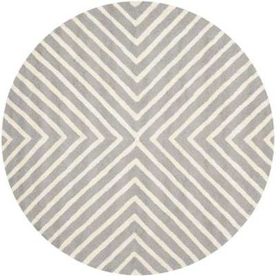 Moroccan Cambridge Silver/ Ivory Wool Rug (6' Round) - Overstock