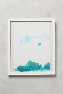 """Abstracted Mountainscape Wall Art - (Green) - 13.25""""H, 11.25""""W - White Frame - Anthropologie"""