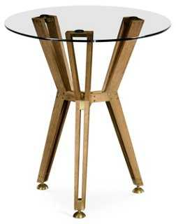 Architectural Round Side Table, Gold - One Kings Lane