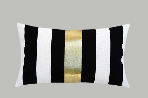 "Decorative Pillow Case- Black, White, Gold- 12"" x 20""- Insert Sold Separately - Etsy"