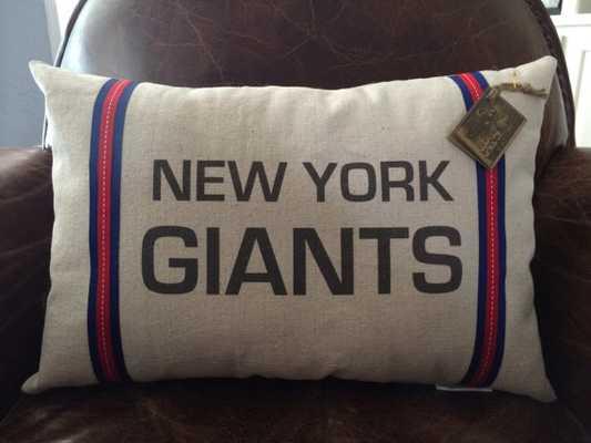 """New York Giants Football Pillow -  12"""" X 18"""" - poly fiberfil - Etsy"""