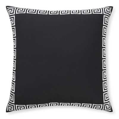 "Outdoor Greek Key Embroidered Pillow, Black - 22"" sq. - with insert - Williams Sonoma"