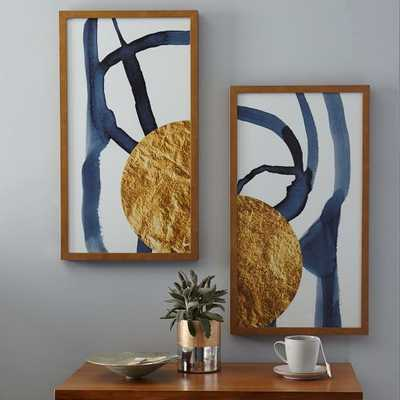 "The Arts Capsule Ink Diptych - Half Moon (Prints 1 + 2), 16""w x 28""h Framed ( Gold metallic) - West Elm"