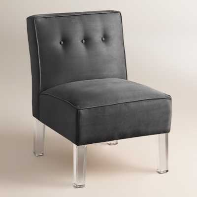 Micro Suede Randen Upholstered Chair - Acrylic Legs - Charcoal - World Market/Cost Plus