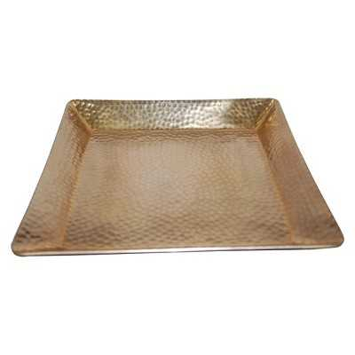 """Thresholdâ""""¢ Squared Hammered Tray with Gold Finish - Target"""