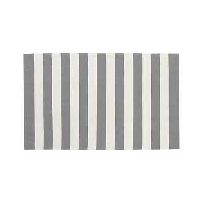 Olin Grey Striped Cotton Dhurrie Rug - 8x10 - Grey - Crate and Barrel