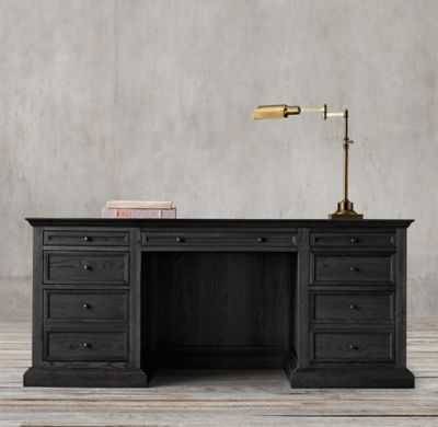 FRENCH PANEL DESK - Black Oak Drifted - RH