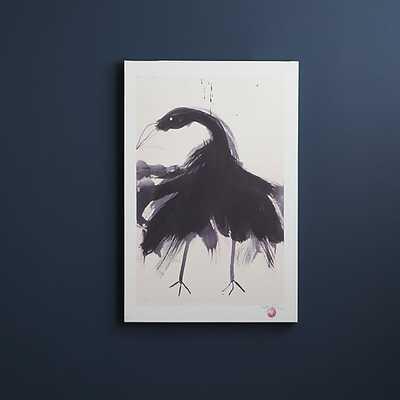 "Black swan print - 24""Wx1.37""Dx36""H - Unframed - CB2"