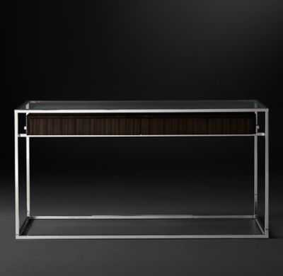 """48"""" KENNAN CONSOLE TABLE - Espresso & Polished Stainless Steel - RH"""