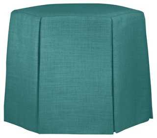 Nora Hexagon Ottoman, Teal - One Kings Lane