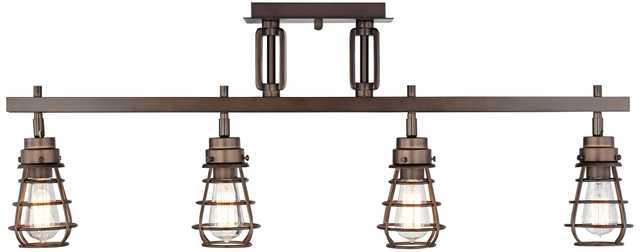 Pro Track® Bendlin Industrial 4-Light Bronze Track Fixture - Lamps Plus