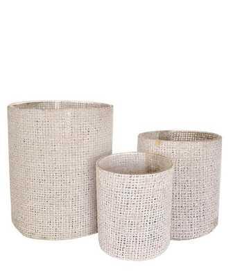 Burlap Wrapped Glass Vase, White Wash- Large - High Street Market