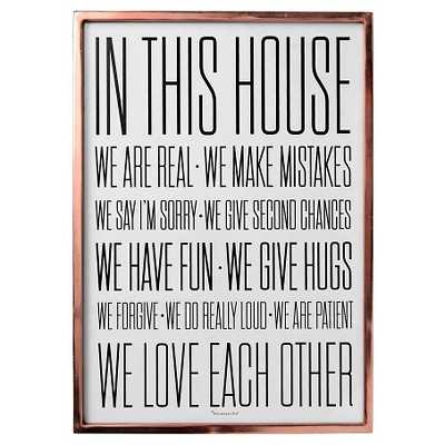 In this House Copper Framed Wall Art - 27.5 H x 19.5 D - Target