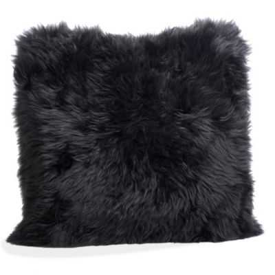"SHEEPSKIN PILLOW, BLACK - 20"" sq. - gumps.com"