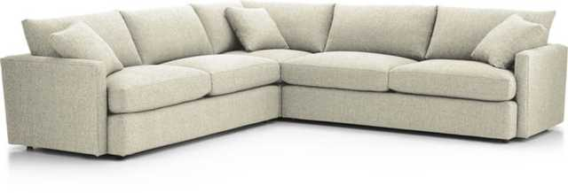 Lounge II Petite 3-Piece Sectional Sofa - Cement - Crate and Barrel