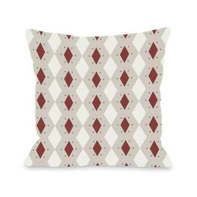 "Diamond Dots Geometric Throw Pillow - Brick - 18"" H x 18"" W - Polyfill - AllModern"