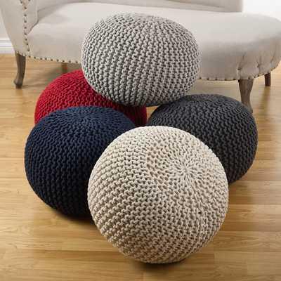 Cotton Twisted Rope Pouf Ottoman - Grey - AllModern