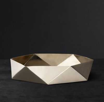 FACETED SOLID BRASS VESSEL - LARGE - Brass - RH Modern