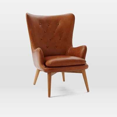 Niels Leather Wing Chair - West Elm