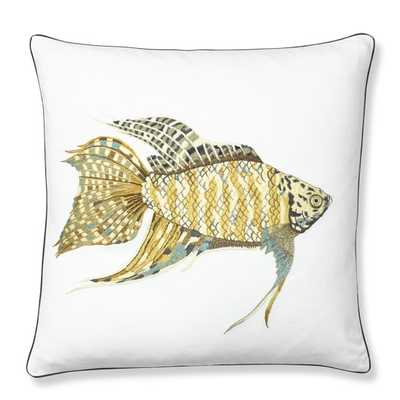 """Embroidered Paradise Fish Pillow Cover - 20"""" sq. - Insert Sold Separately - Williams Sonoma Home"""