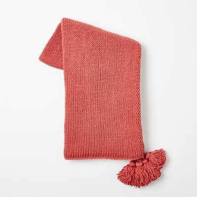 Cotton Tassel Throw - Poppy - West Elm