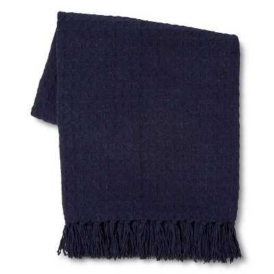 Basketweave Chenille Throw - Blue - Target