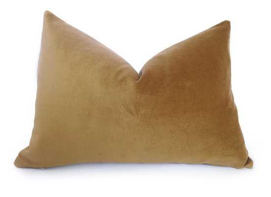 """Cotton Velvet Pillow Cover - Gold - 12"""" x 20"""" - Insert Sold Separately - Willa Skye"""
