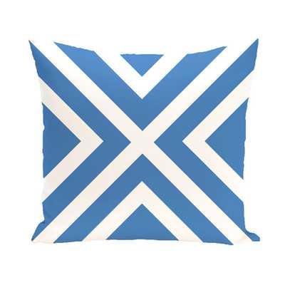"""Coastal Calm Geometric Throw Pillow - Blue - 20"""" H x 20"""" W - Faux down - AllModern"""