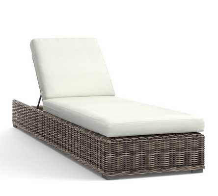 Huntington All Weather Wicker Single Chaise-Chaise Frame  & Cushion - Pottery Barn